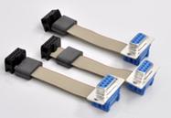 Flachbandkabel mit Ferritkern und Pfostenverbinder